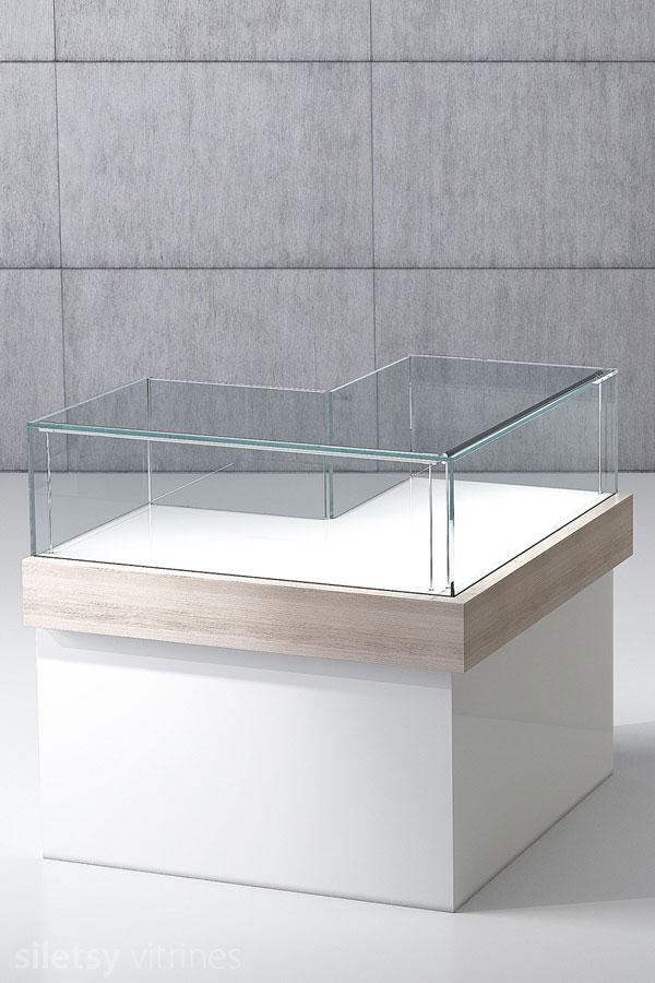 Hoek-vitrine-toonbank ML08 100x100x100cm