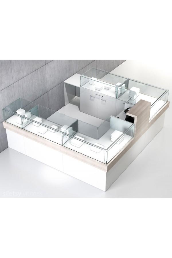 Vitrine-toonbank opstelling 250x250x120cm