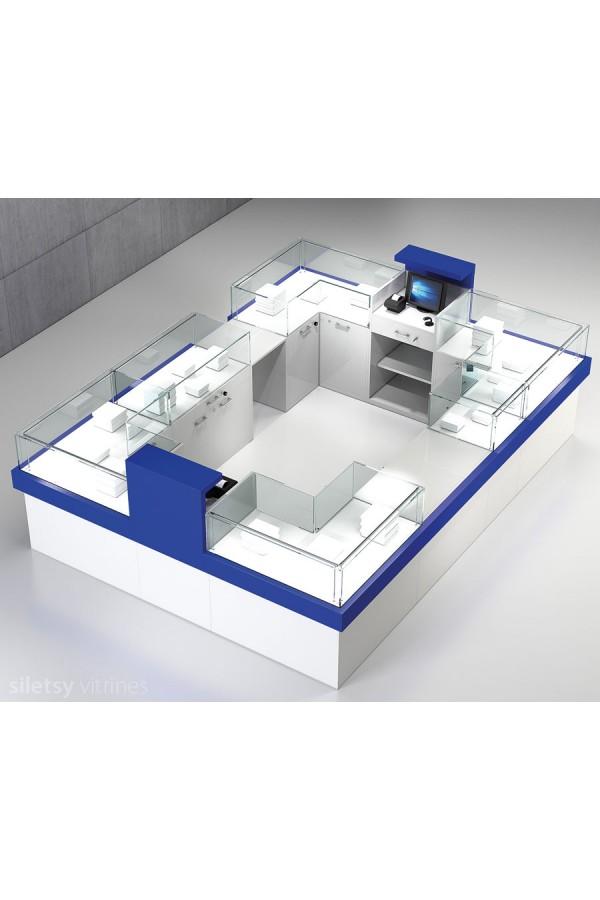 Vitrine-toonbank opstelling 350x250x120cm