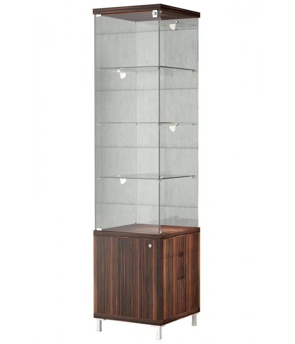 Design vitrine met onderkast 45x45x190cm