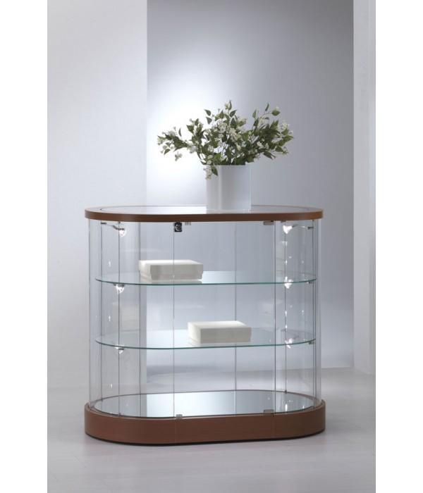 Design ovaal-ronde vitrine-toonbank 96x56x93cm