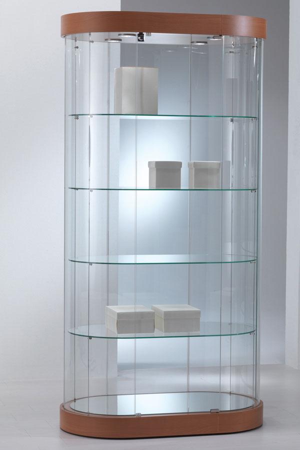Design ovaal-ronde vitrinekast 97x56x190cm