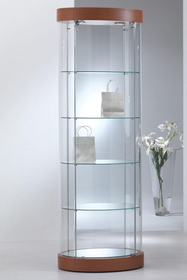 Design ovaal-ronde vitrinekast 65x44x190cm