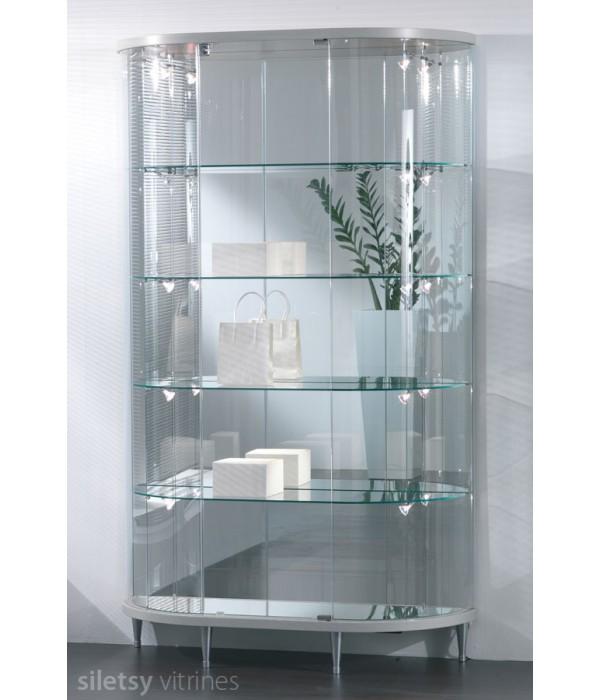 Design half-ovaal-ronde vitrinekast 112x38x190cm