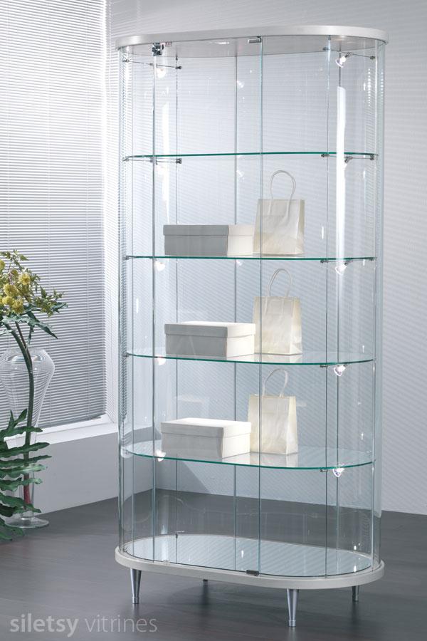 Design ovaal-ronde vitrinekast 96x56x190cm