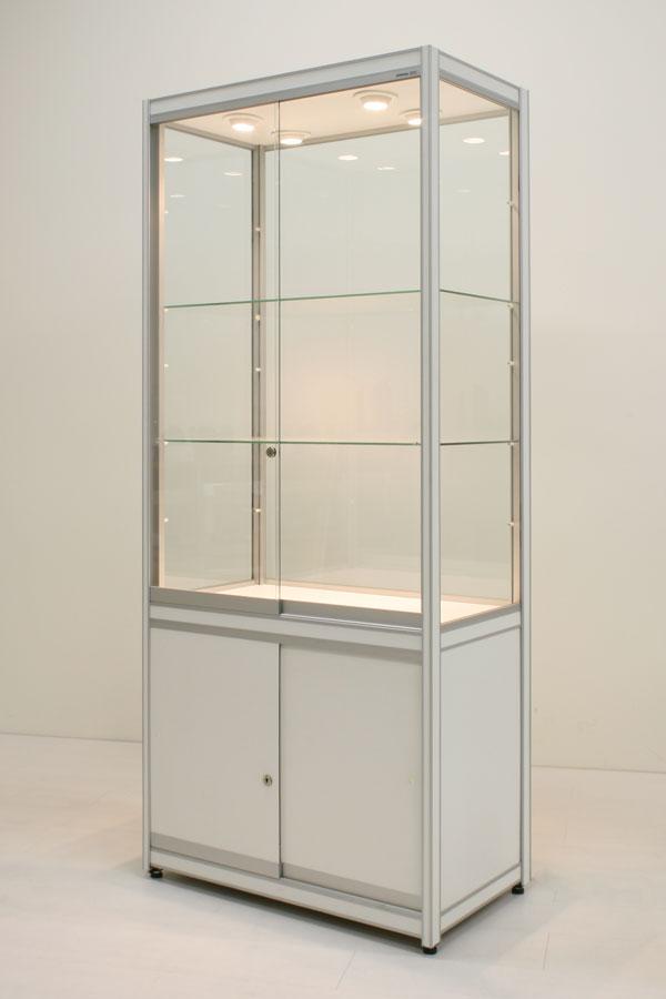 Huur van vitrine FX-10 met onderkast D 83x49x200cm
